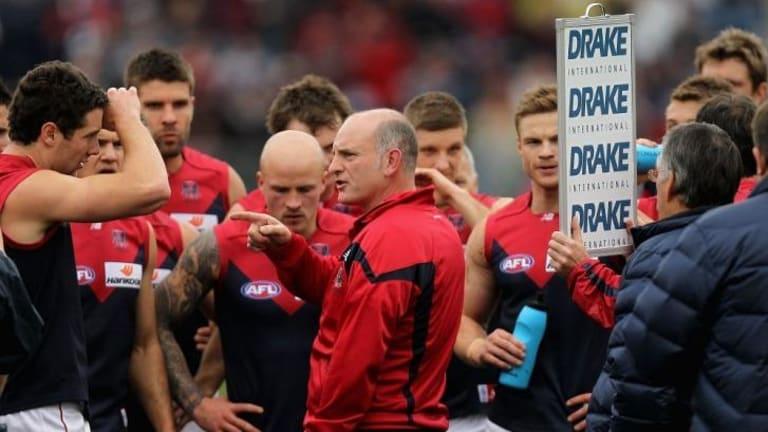 Dean Bailey coaching Melbourne in 2011.