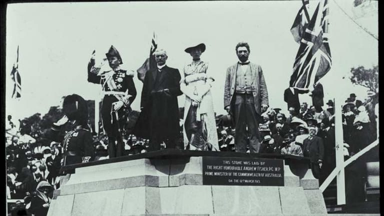 Naming of Canberra by Lady Denman in 1913.