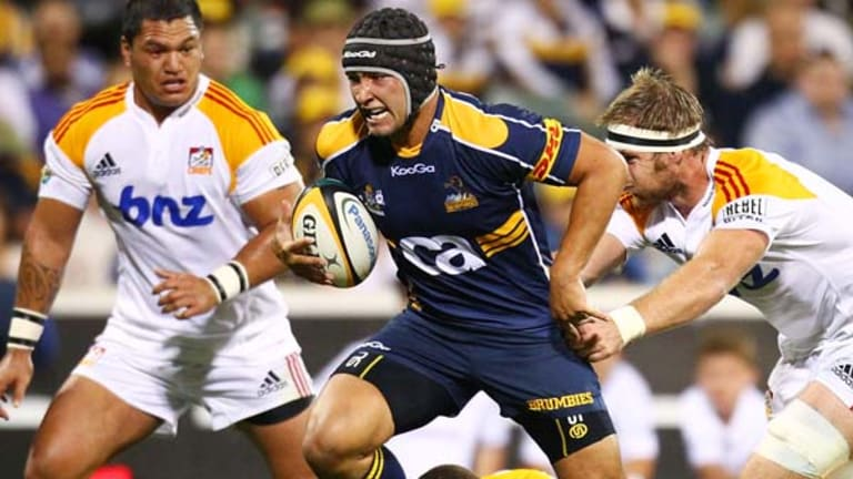 Colby Faingaa of the Brumbies will play against his brothers Saia and Anthony on Saturday.
