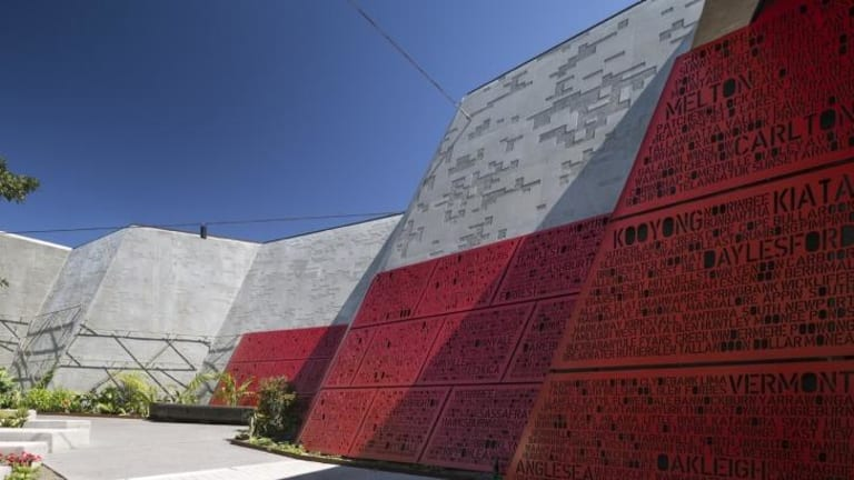Living record: Inside Melbourne's Shrine of Remembrance redevelopment, by ARM Architecture, red steel panels list the names of every Victorian town from which young men and women enlisted.