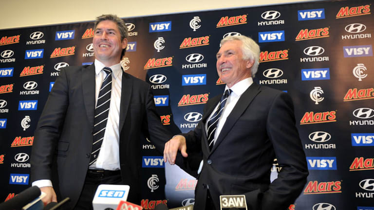 All smiles...Kernahan, left, with Malthouse at VISY park.