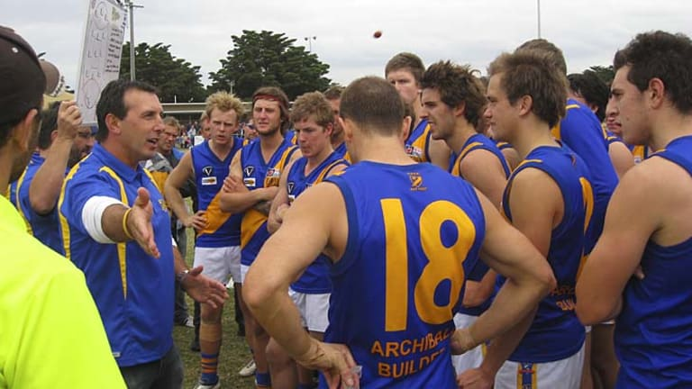 Proud history: Former Geelong star Peter Riccardi addresses his Seagulls players last year.