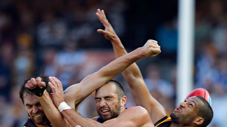 Cats forward James Podsiadly is crunched in a marking contest with Hawks defenders Luke Hodge (left) and Josh Gibson when the teams clashed in round 5 back in April.