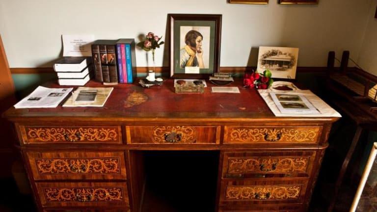 Writer's lair:  The  desk of author Henry Handel Richardson.