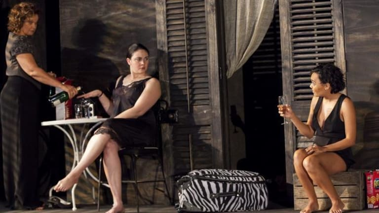 Sisters on the brink: Leah Purcell, Shari Sebbens and Miranda Tapsell in Belvoir's <i>Radiance</i>.