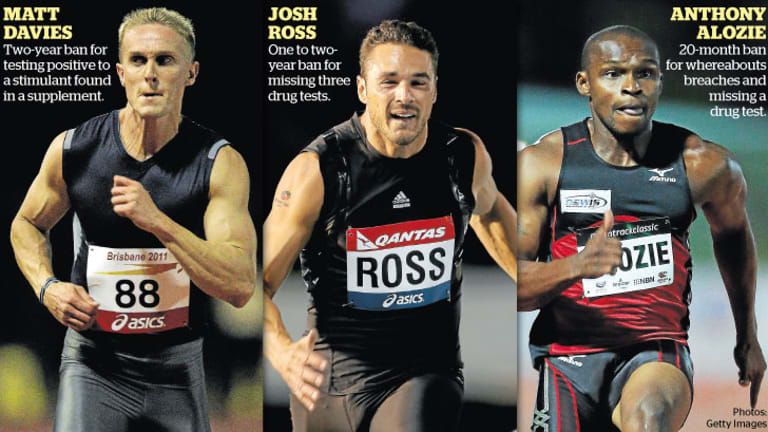 The three banned sprinters.