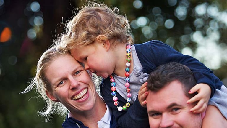 Calling London: Olympic rower Sarah Tait, husband Bill, the national rowing coach, and their two-year-old daughter Leila.