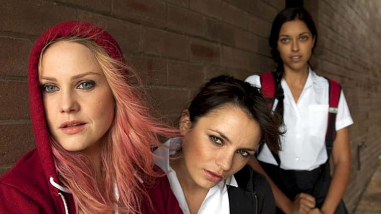 Alarm belles … left to right, actors Eryn Jean Norvill, Jessica Tovey and Kristy Best .