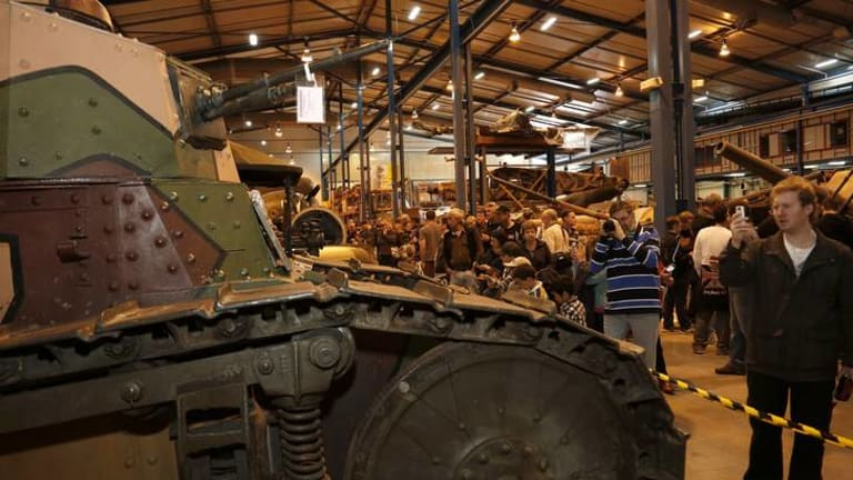 Part of the huge crowd which attended yesterday's very popular open-day event at the Australian War Memorial's cavernous Mitchell storage facility.