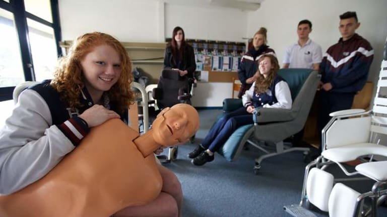 Emma Green (left), who wants to be an occupational therapist, with some health students.
