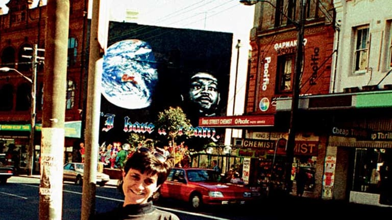 A proud Juilee Pryor in front of the I Have A Dream artwork.