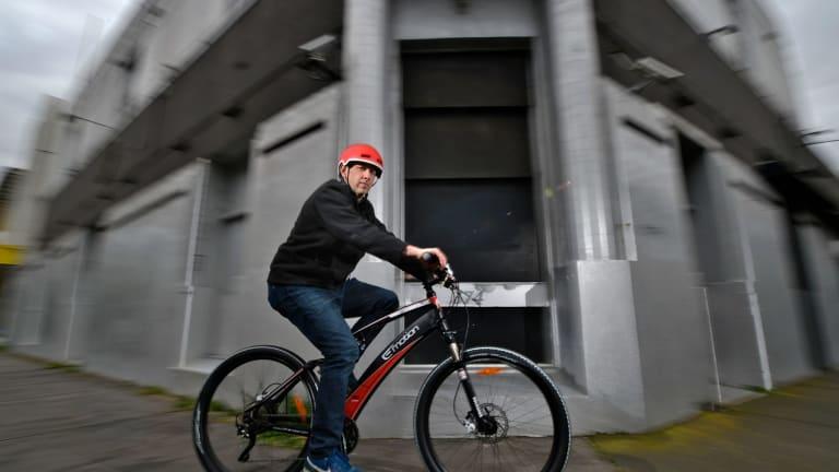 Baron Katranski on an electric bike.
