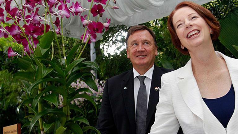 Julia Gillard and partner Tim Mathieson.