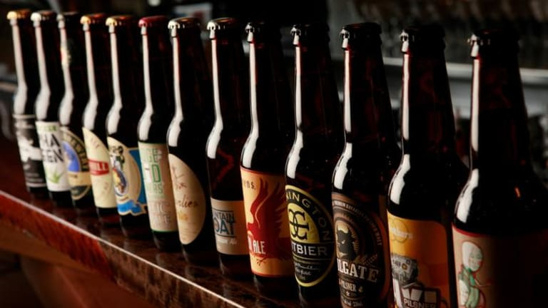 Just a few of the 65 Victorian brews at Woodlands Hotel.