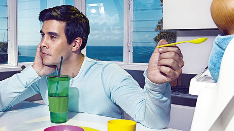 """Modern man … actor James Stewart says it takes a """"bit of a liberated mind""""  to be a full-time father."""