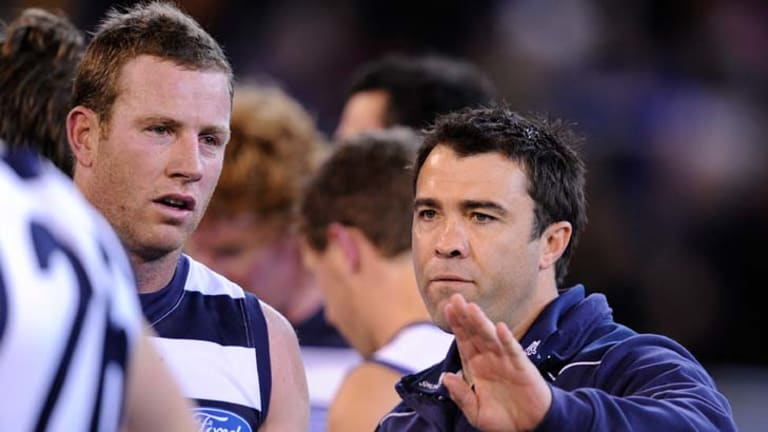Chris Scott instructs Steve Johnson in the Cats' qualifying final against Hawthorn.