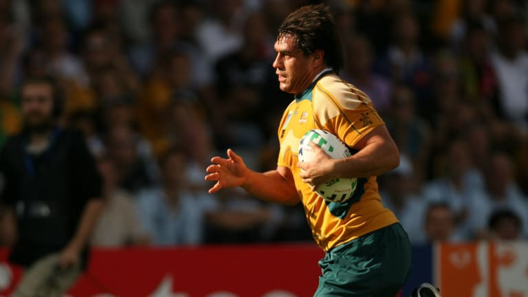 George Smith in action in the Rugby World Cup when Australia played Japan.