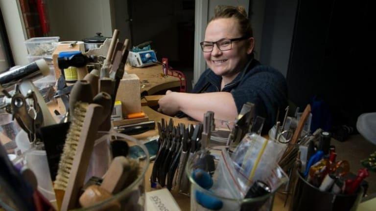 Jeweller Laura Eyles in her Point Cook studio.