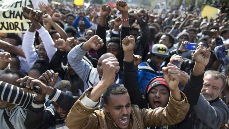 On the streets: More than 30,000 African asylum seekers took part in the rally.