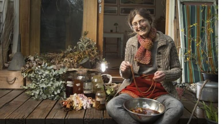 Textile artist, weaver and sculptor ilka White makes her own dyes from plants from nearby Merri Creek in Northcote.