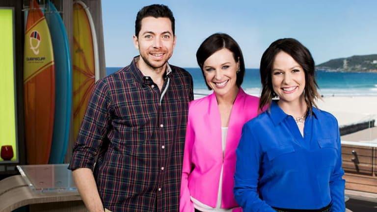 Leaving Wake Up: Natasha Exelby, right, with hosts James Mathison and Natarsha Belling.