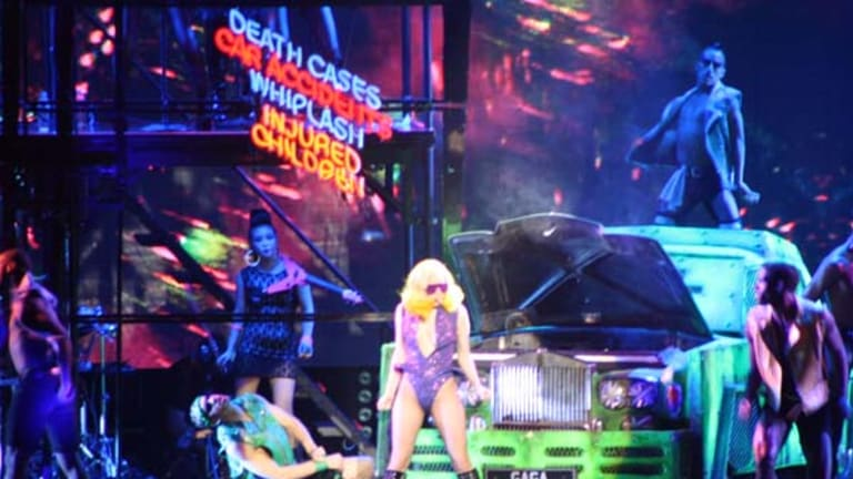 Lady Gaga and her troupe of dancers perform at her Monsters Ball Brisbane concert.