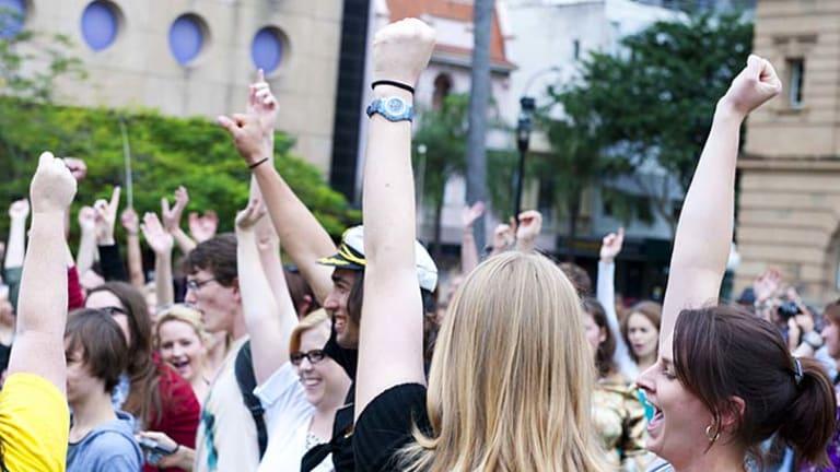 Crowds at last year's SlutWalk in Brisbane.