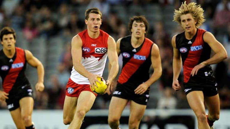 Outstanding form … Harry Cunningham in action against Essendon in the NAB Cup.