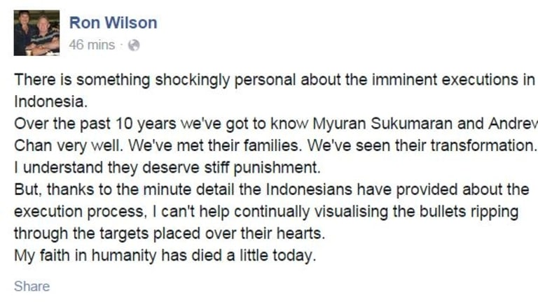 Broadcast personality Ron Wilson's pays tribute on Facebook to Chan and Sukumaran.
