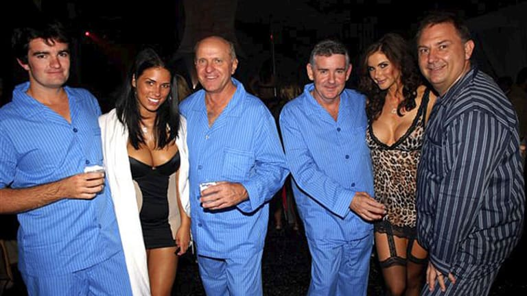 High life ... Sonny Nugent, director Robert McClelland, Micheal Nugent and director Steve Foster with models at the Playboy Mansion.