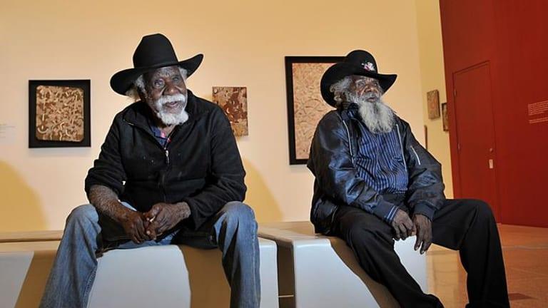 Founding members of the Papunya Tula Artists,  Long Jack Phillipus Tjakamarra (left) and Ronnie Tjampitjinpa.