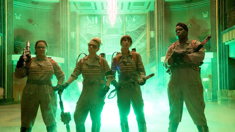 Facing a wave of hate online ... Melissa McCarthy, Kate McKinnon, Kristen Wiig and Leslie Jones in  <i>Ghostbusters.</i>
