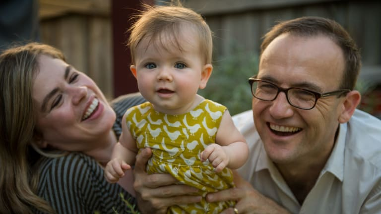 Federal Greens MP Adam Bandt with wife Claudia Perkins and their daughter Wren.