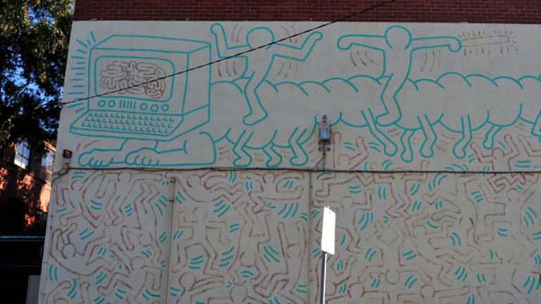 The Keith-Haring mural in Collingwood. <i>Photo: Wayne Taylor</i>