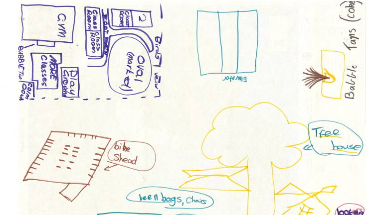 Drawings showing some of the design ideas Golden Square Primary students came up with for their new school.