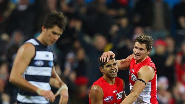 Cats unfocused: Sydney's Andrejs Everitt (right) celebrates his goal with Lewis Jetta.