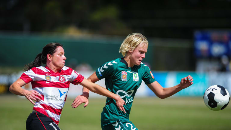 Canberra United defender Catherine Brown, right, will line up for Belconnen United in Sunday's Federation Cup final against Gungahlin United.