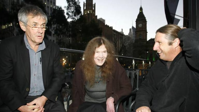 Winners of book awards (from left) Don Watson (book of the year and non-fiction), Jan Harry (poetry) and Tim Winton