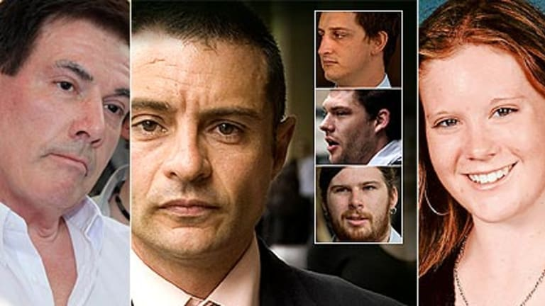 Brodie's father Damien Panlock, left, and the four men who relentlessly bullied his daughter - Marc Luis Da Cruz with, inset, from top,  Nicholas Smallwood, Rhys MacAlpine and Gabriel Toomen.