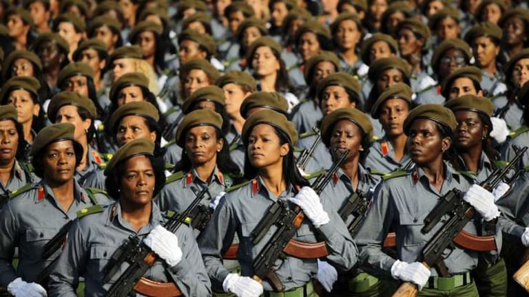 Cuban soldiers march during a military parade in Havana's Revolution Square April 16, 2011.