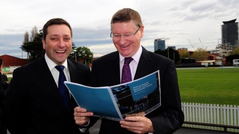 Excitement: The Victorian Premier Denis Napthine and Planning Minister Matthew Guy announced that Fishermans Bend will undergo urban renewal, the largest project of its kind ever to be undertaken in Australia.