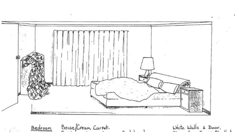 A sketch of Mr Cruel's bedroom - made by a victim who was released.