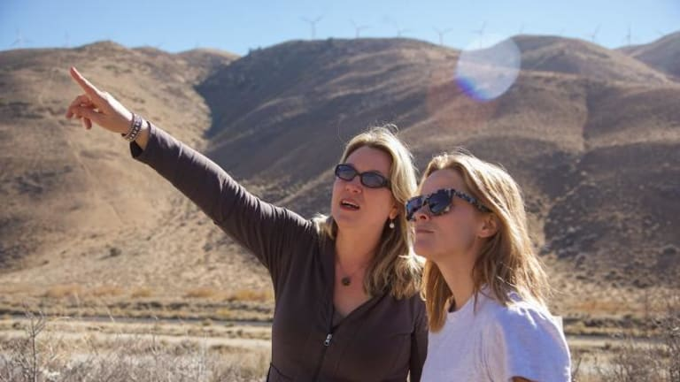 Cheryl Strayed and Reese Witherspoon on the set of <i>Wild</i>.
