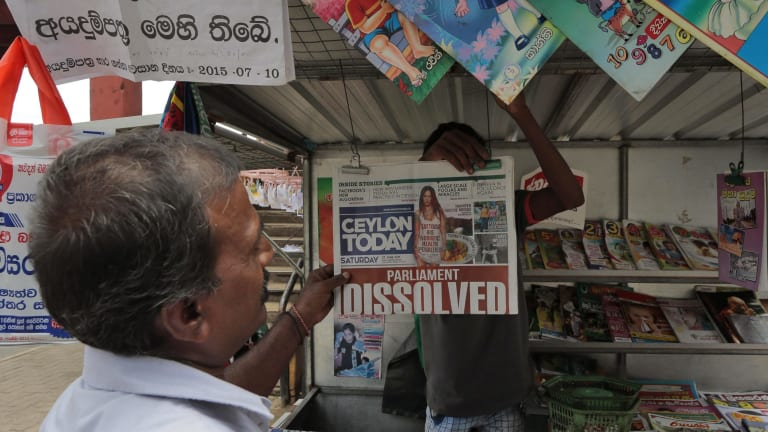 Newspapers on sale in Colombo on the weekend.