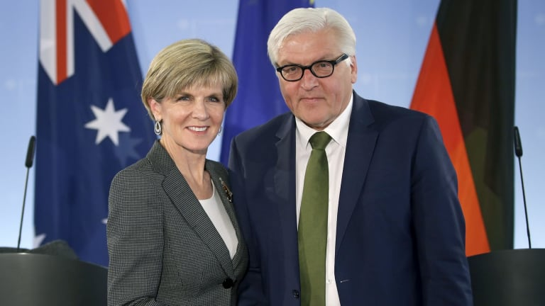 German Foreign Minister Frank-Walter Steinmeier and Julie Bishop shake hands after a joint press conference in Berlin.