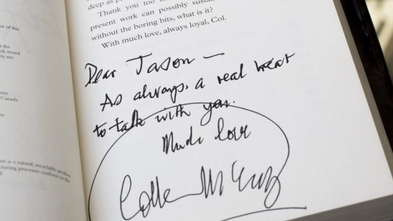 Author Colleen McCullough's signature and message to Jason Steger, who knew her as a formidable woman who was sharp as a tack.