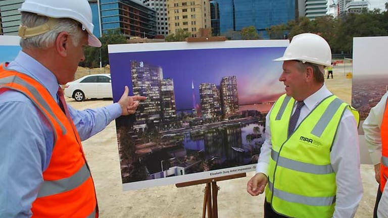 Marriott International Asia president and managing director Simon Cooper with WA Premier Colin Barnett at the Elizabeth Quay site.