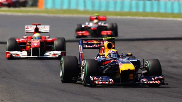 Mark Webber in action in the Hungary F1 race.