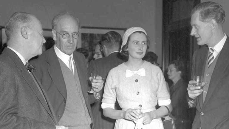K.  Slessor, R.D Fitzgerald, Rosemary Dobson and John Thompson at a party to launch the Penquin Book Of Australian Verse in 1958.