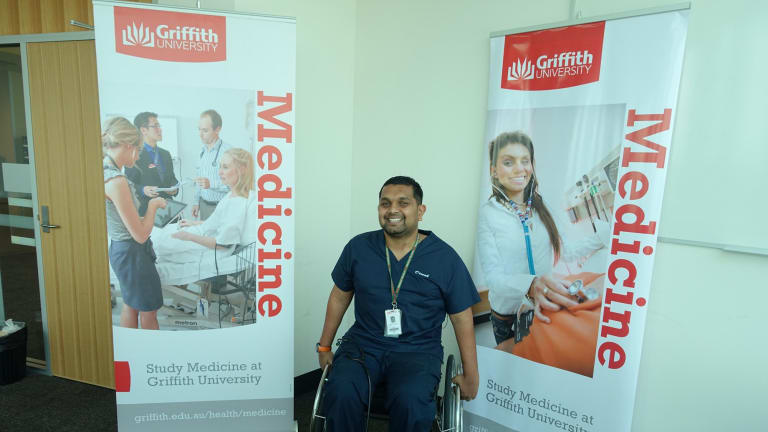 Denish Palipana has a spinal cord injury and has recently graduated from medical school. Supplied